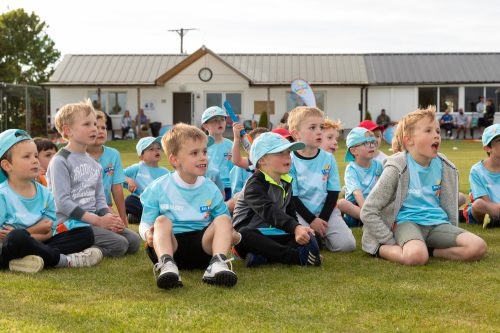 A group of children gather round after the All Stars Cricket session at Sheriff Hutton Bridge Cricket Club on 16-05-19